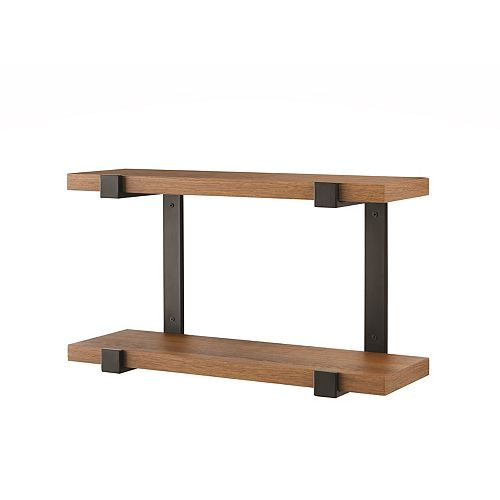 Theo 24-inch 2-Tier Wall Shelf in Oak Finish