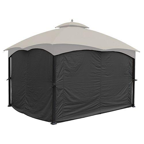 Universal Privacy Curtain Set for 10' x 12' Gazebo (Grey)