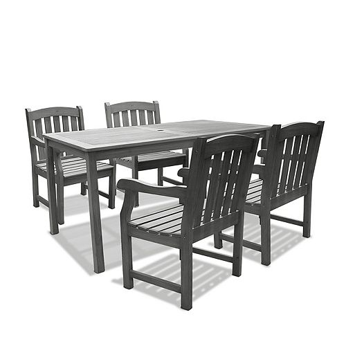 Renaissance Grey 5-piece Curve Back Chairs Patio Dining Set