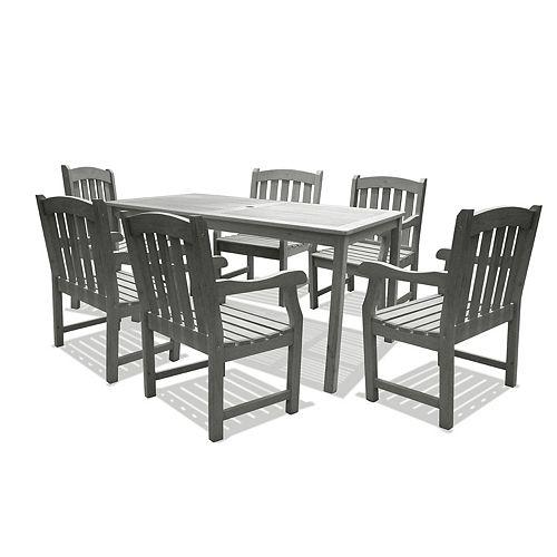 Renaissance Grey 7-piece Curve Back Chairs Patio Dining Set