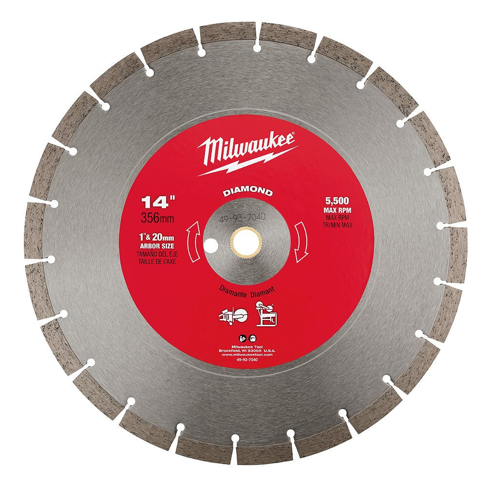 Milwaukee Tool 14-inch Diamond Segmented General Purpose Cut-Off Saw Blade