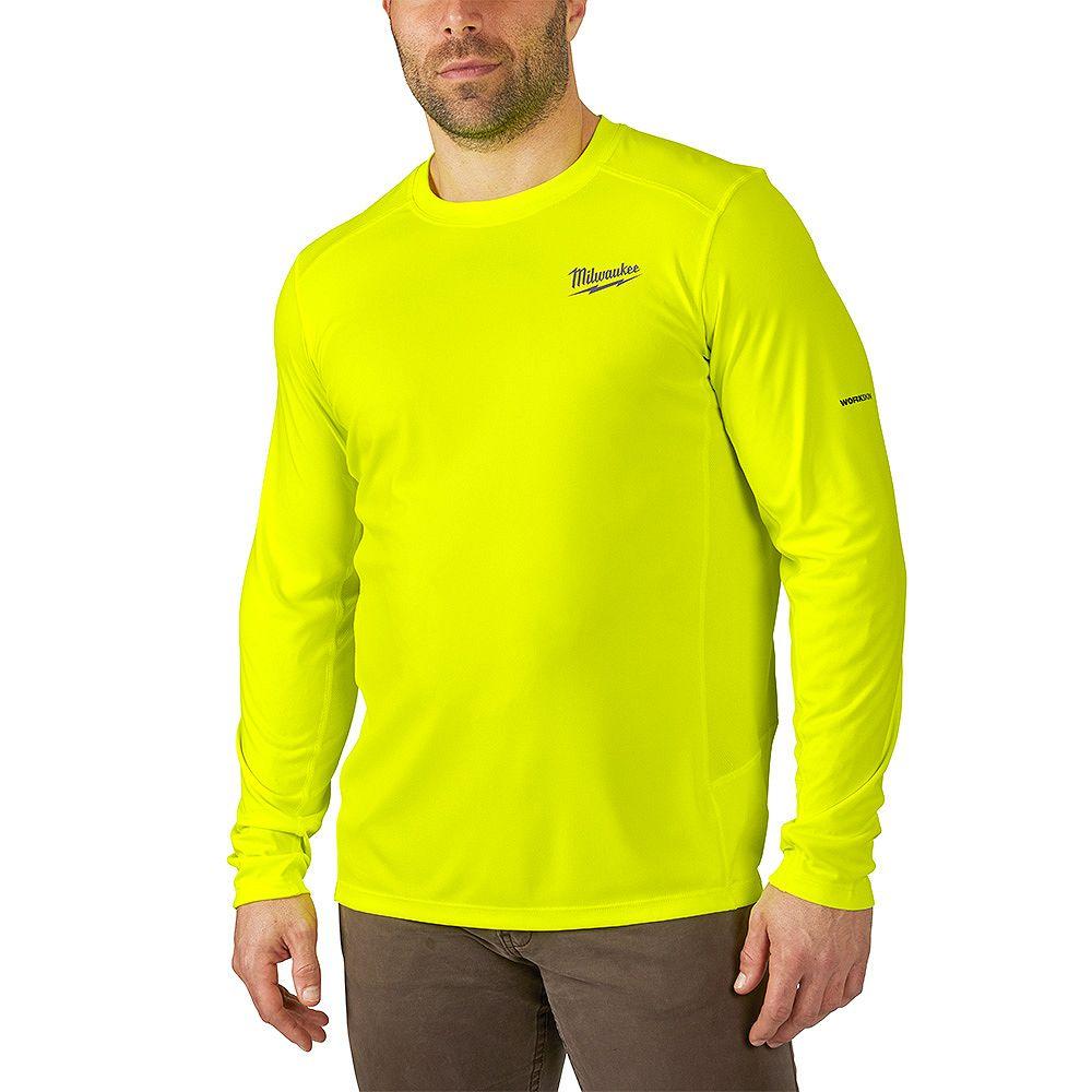Milwaukee Tool Men's Large High Visibility GEN II WORKSKIN Light Weight Performance Long-Sleeve T-Shirt