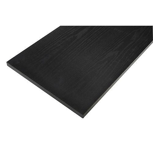 Tablette en bois laminé noir de 12 po x 24 po