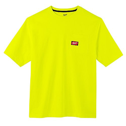 Men's Large High Visibility Heavy Duty Cotton/Polyester Short-Sleeve Pocket T-Shirt