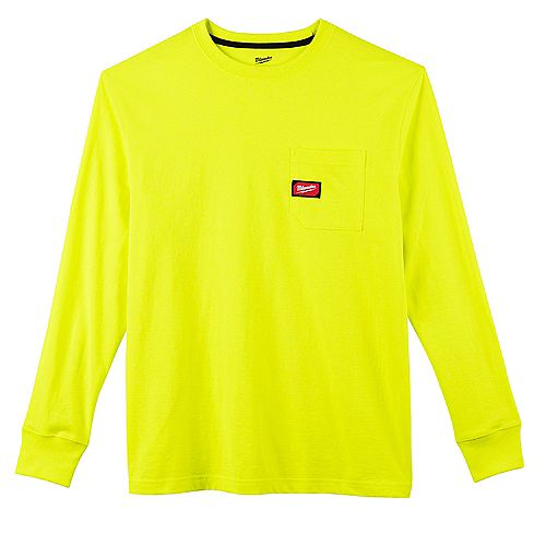 Milwaukee Tool Men's 2X-Large High Visibility Heavy Duty Cotton/Polyester Long-Sleeve Pocket T-Shirt