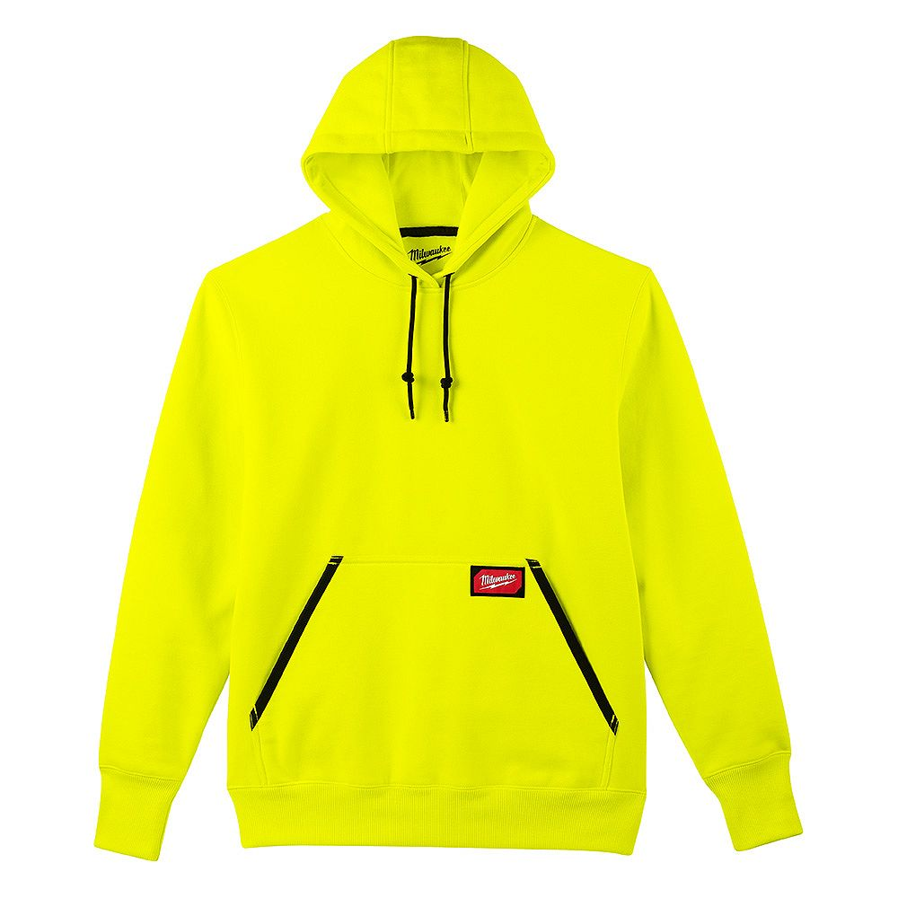 Milwaukee Tool Men's Medium High Visibility Heavy Duty Cotton/Polyester Long-Sleeve Pullover Hoodie