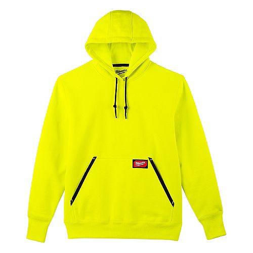 Men's Medium High Visibility Heavy Duty Cotton/Polyester Long-Sleeve Pullover Hoodie