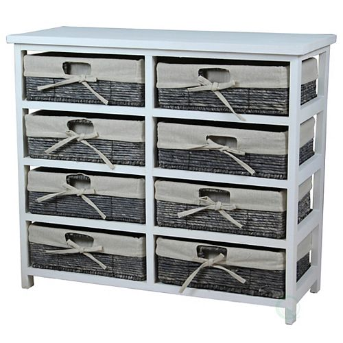 Rustic White Wooden Storage Chest with 8 Fabric Lined Maize Basket Style Drawers