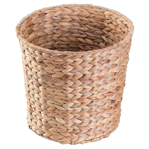 Natural Water Hyacinth Round Waste Basket - For Bathrooms, Bedrooms, or Offices