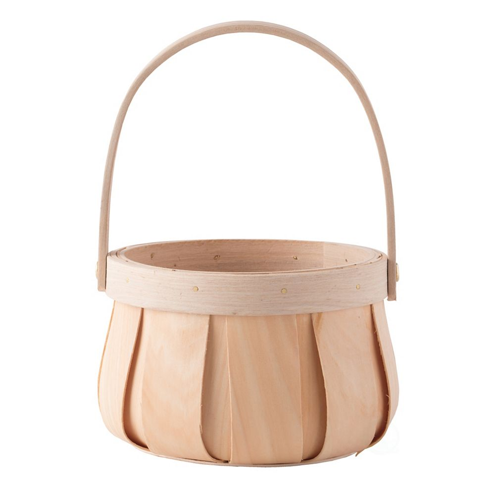 Vintiquewise Small Round Natural Woodchip Wooden Decorative Storage Basket with Handle