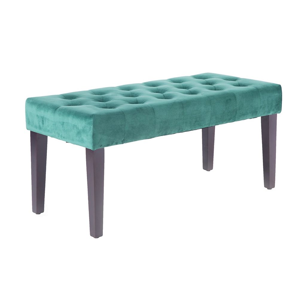 Bold Tones Velvet Tufted Modern Ottoman Coffee Table Bench Green The Home Depot Canada