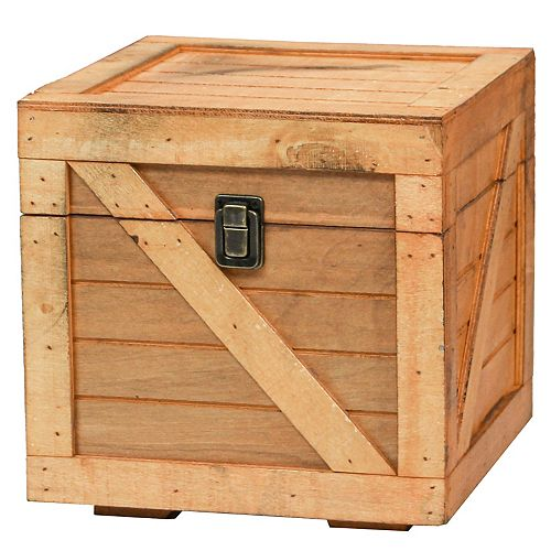 Stackable Wooden Cargo Crate Style Storage Chest, Light Brown
