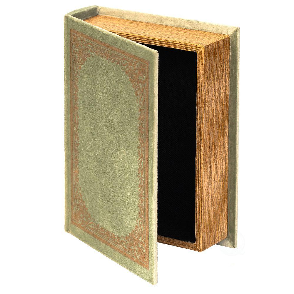 Vintiquewise Decorative Vintage Book Shaped Trinket Storage Box - Antique Green