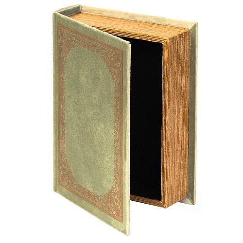 Decorative Vintage Book Shaped Trinket Storage Box - Antique Green