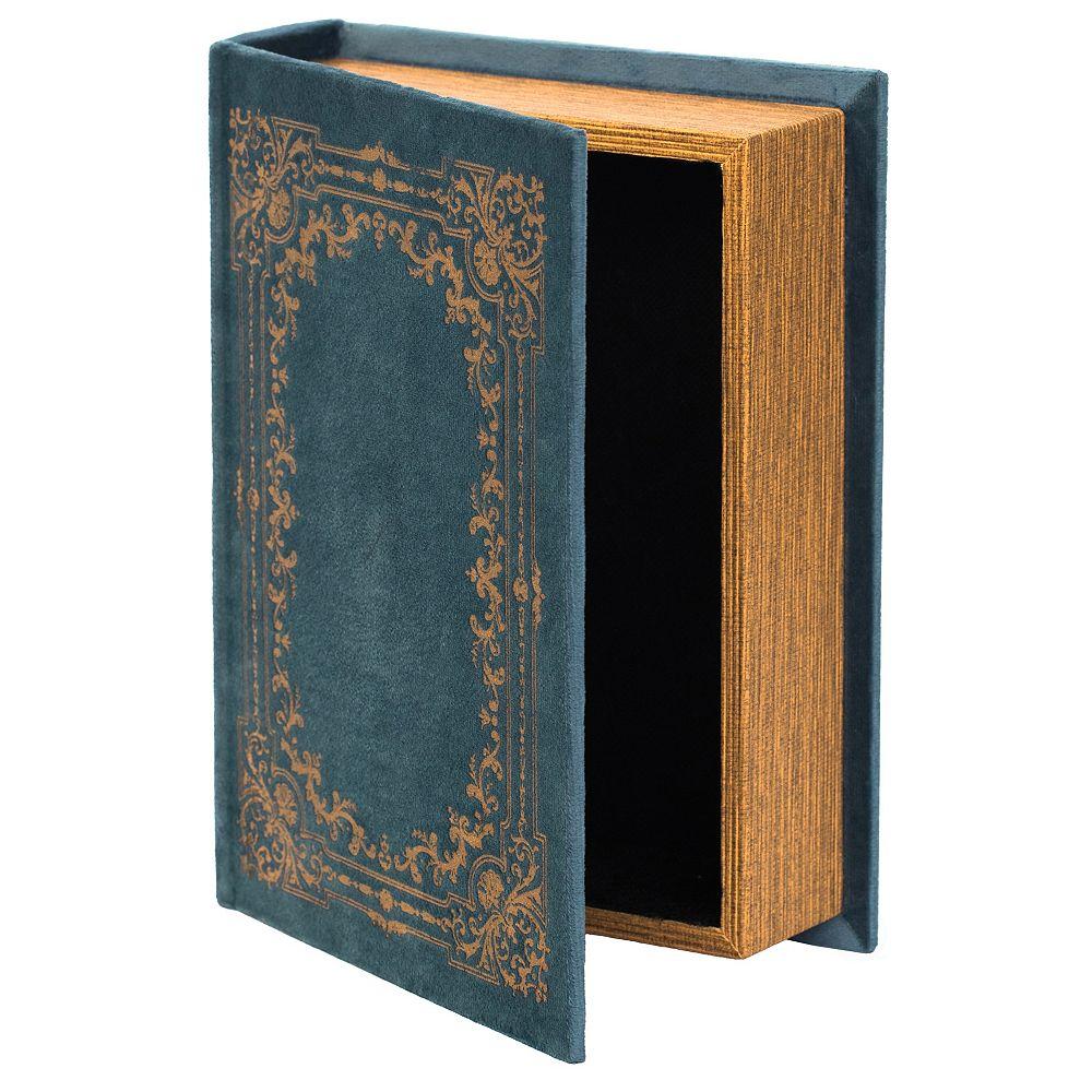 Vintiquewise Decorative Vintage Book Shaped Trinket Storage Box - Blue