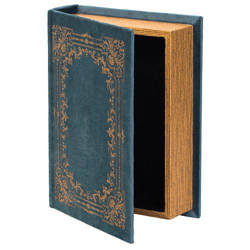 Decorative Vintage Book Shaped Trinket Storage Box - Blue