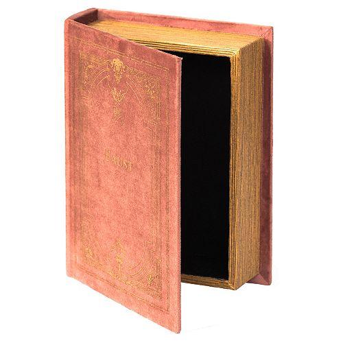 Decorative Vintage Book Shaped Trinket Storage Box - Brown