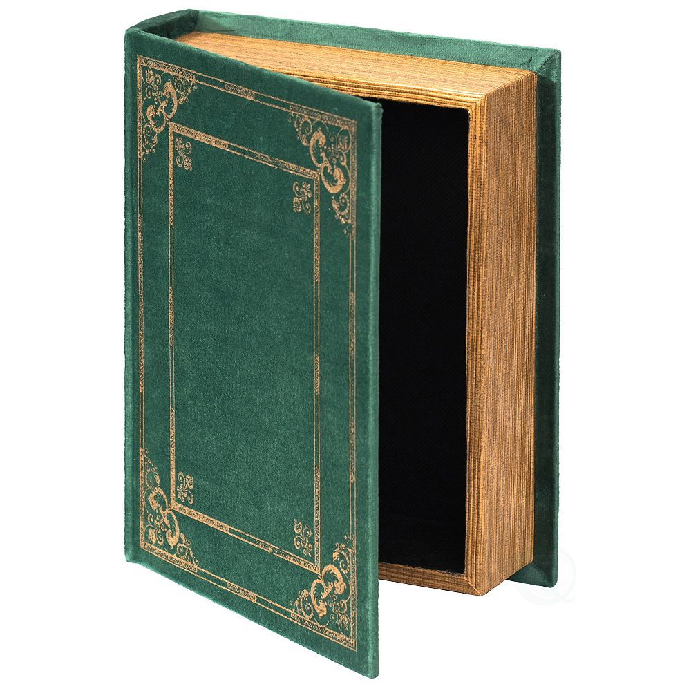 Vintiquewise Decorative Vintage Book Shaped Trinket Storage Box- Green
