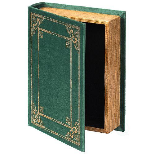 Decorative Vintage Book Shaped Trinket Storage Box- Green