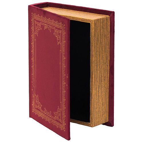 Decorative Vintage Book Shaped Trinket Storage Box - Red