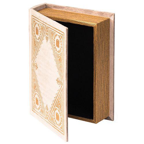 Decorative Vintage Book Shaped Trinket Storage Box - White
