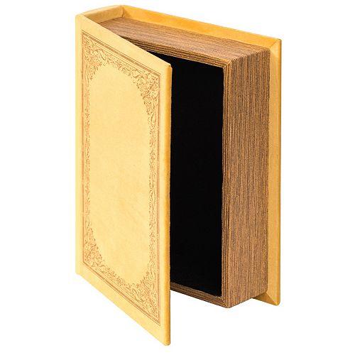 Decorative Vintage Book Shaped Trinket Storage Box - Yellow