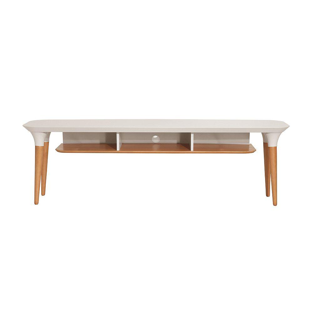 Manhattan Comfort HomeDock 62.99 TV Stand in Off White and Cinnamon