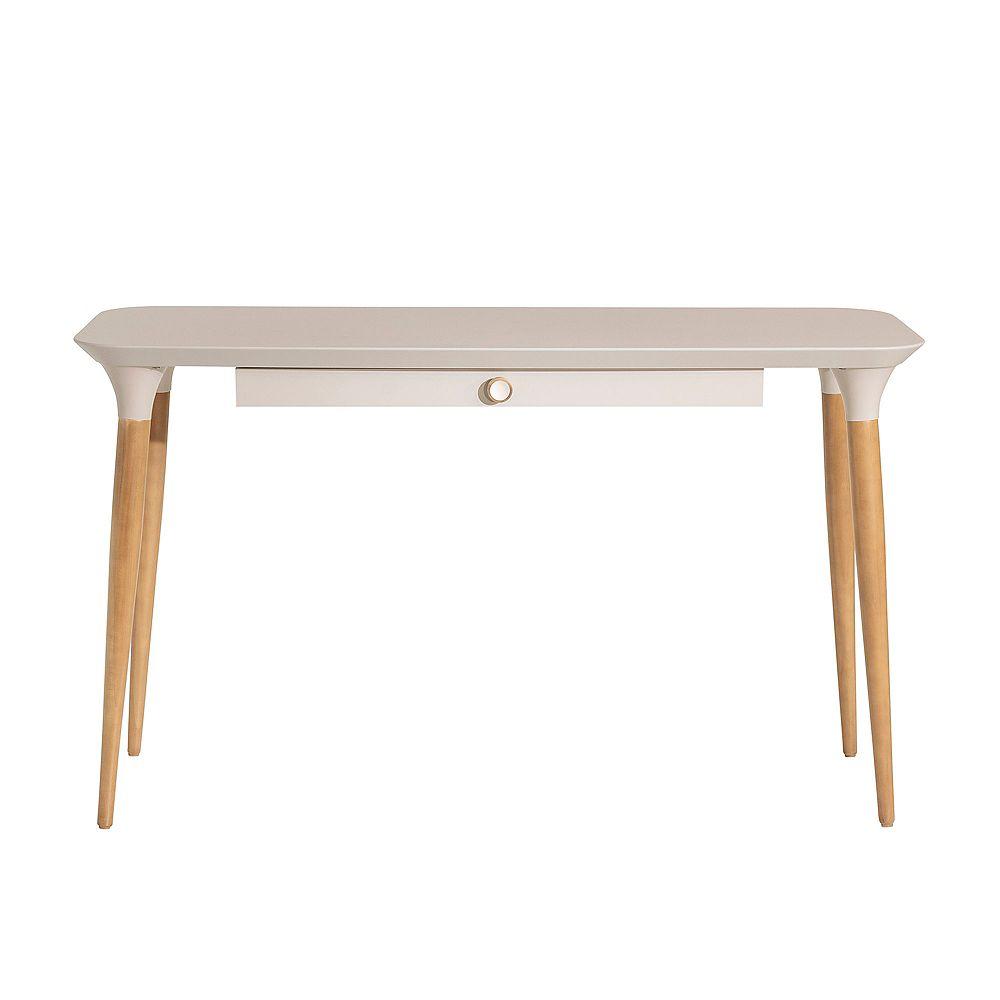 Manhattan Comfort HomeDock Office Desk in Off White and Cinnamon
