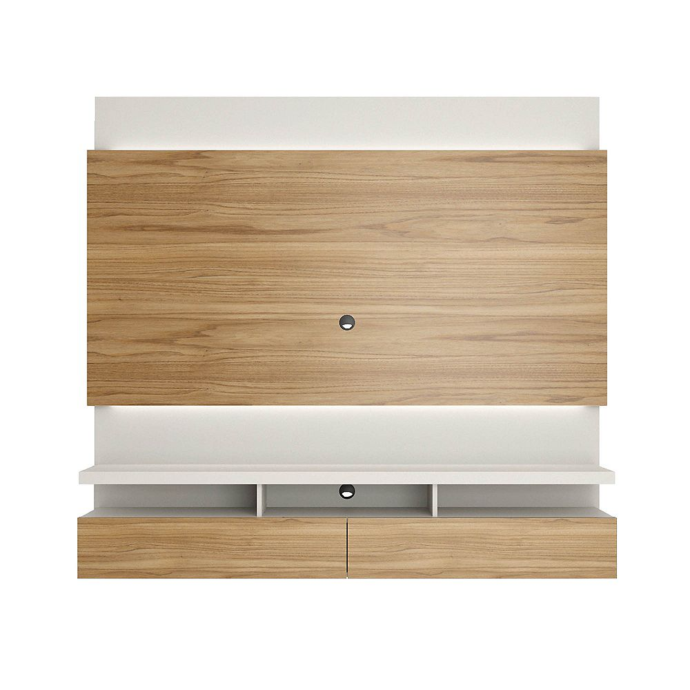 Manhattan Comfort Brill 70.94 Floating Entertainment Center in Cinnamon and Off White