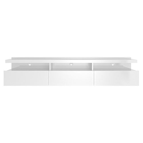 Cabrini 71.25 Half Floating Entertainment Center in White Gloss