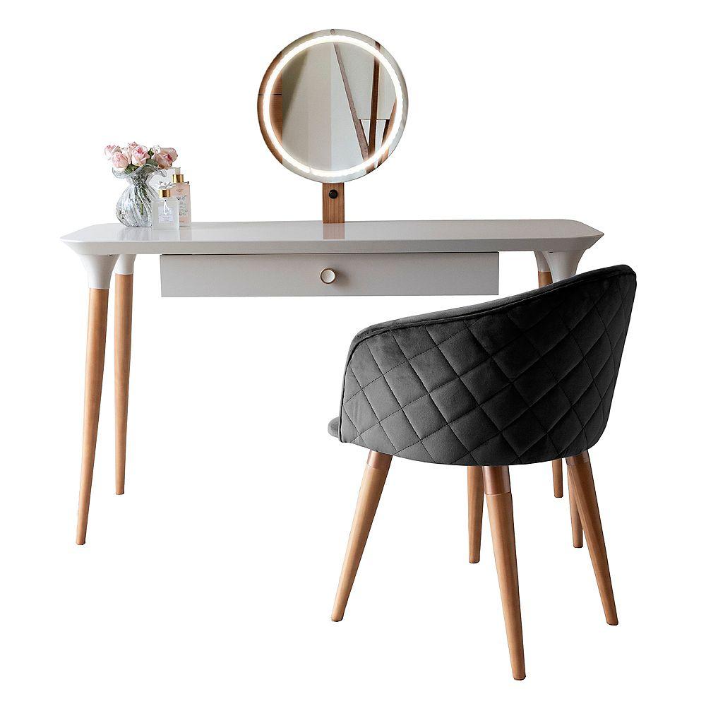 Manhattan Comfort HomeDock - Coiffeuse et ensemble de chaises Kari en blanc cassé et noir