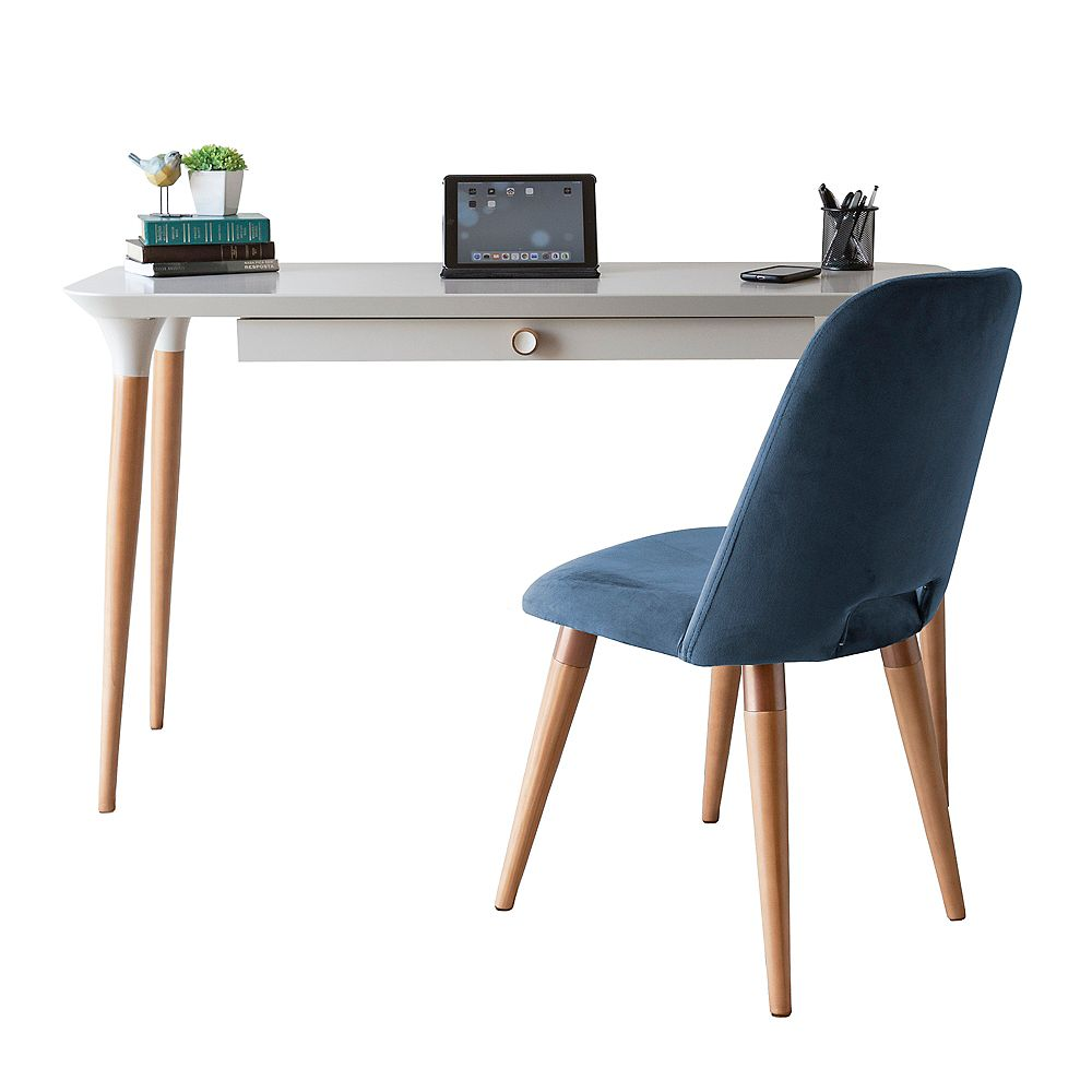Manhattan Comfort 2-Piece HomeDock Office Desk and Selina Accent Chair Set in Off White and Blue