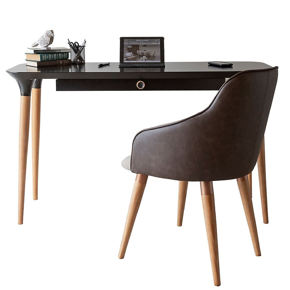 Manhattan Comfort 2-Piece HomeDock Office Desk and Martha Accent Chair Set in Black and Brown