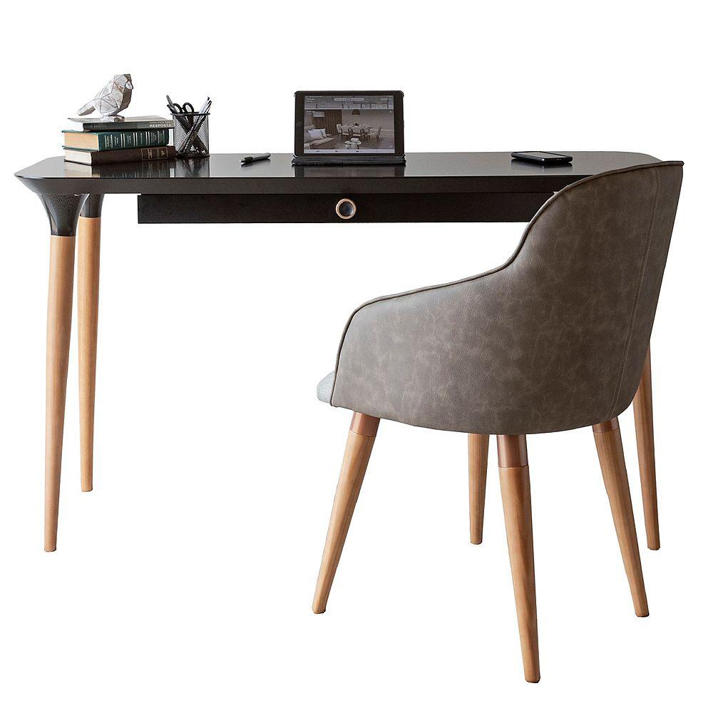 Manhattan Comfort Ensemble de bureau HomeDock et chaise d'appoint Martha en noir et gris