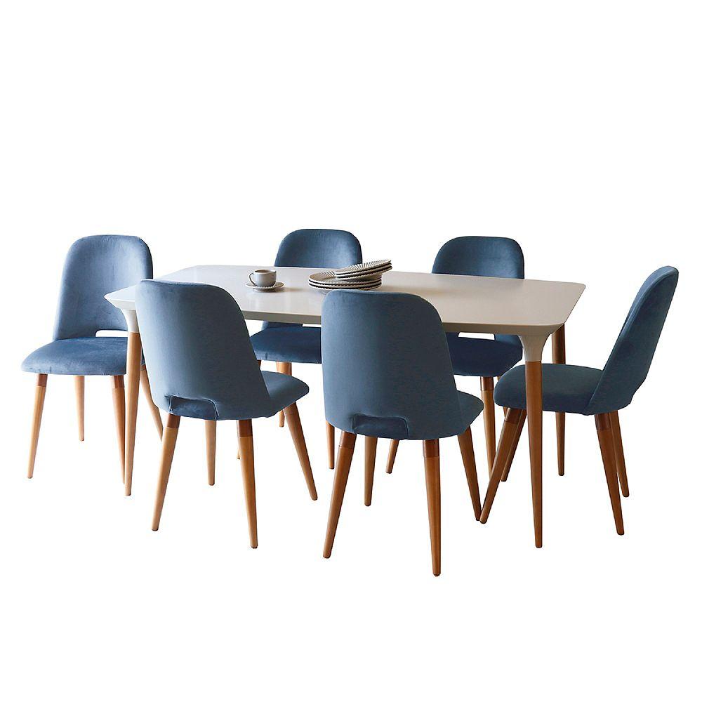Manhattan Comfort Ensemble de salle à manger HomeDock 62,99 de 7 pièces avec 6 chaises Selina en blanc cassé et bleu
