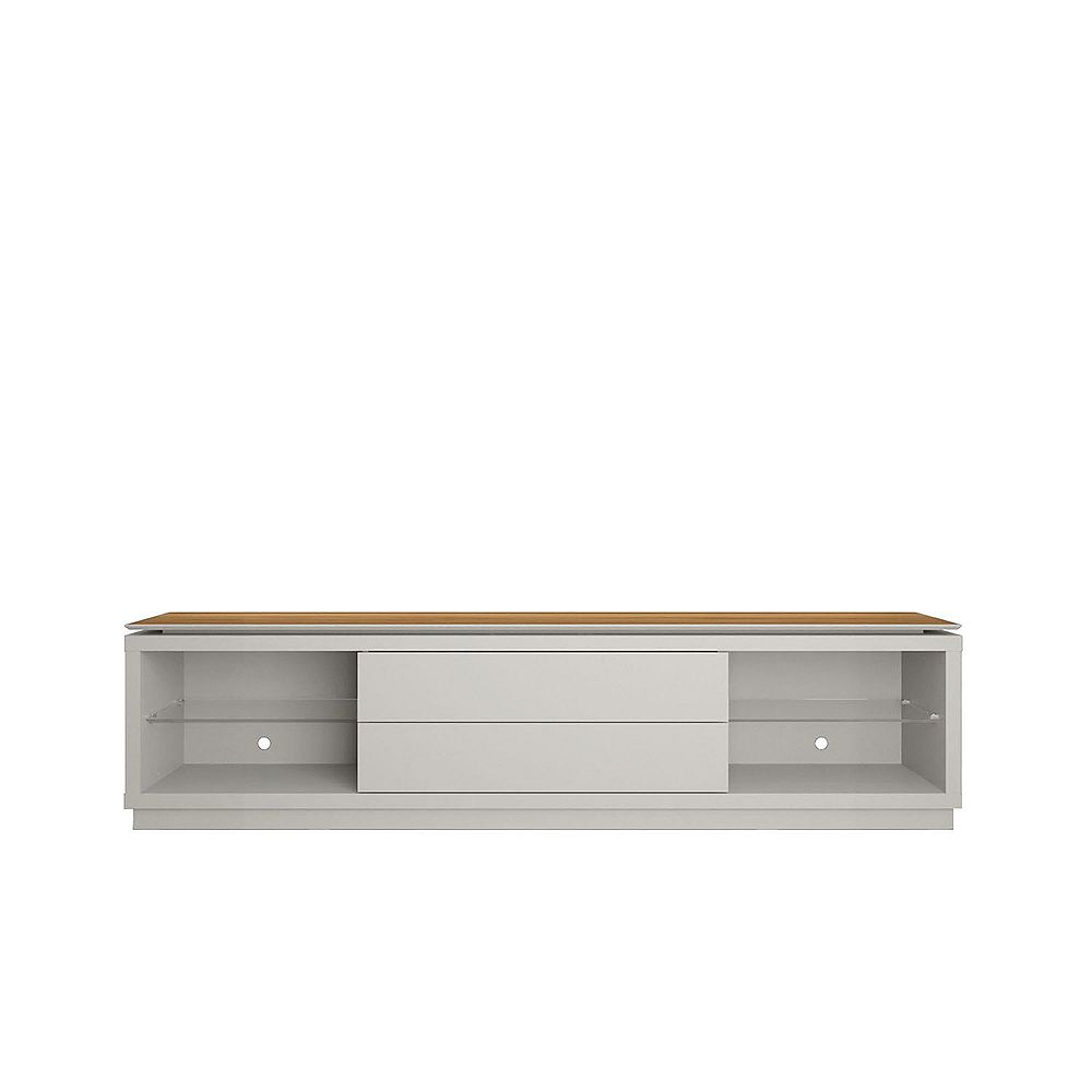 """Manhattan Comfort Lincoln 85.43"""" TV Stand in Off White and Cinnamon"""
