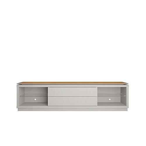 """Lincoln 85.43"""" TV Stand in Off White and Cinnamon"""