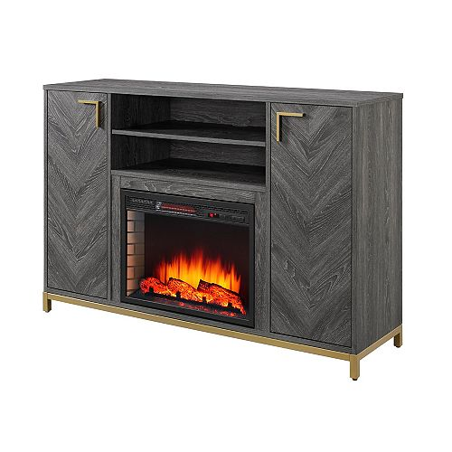 Norlington 54-inch Infrared Electric Media Cabinet Fireplace in Rustic Grey Finish