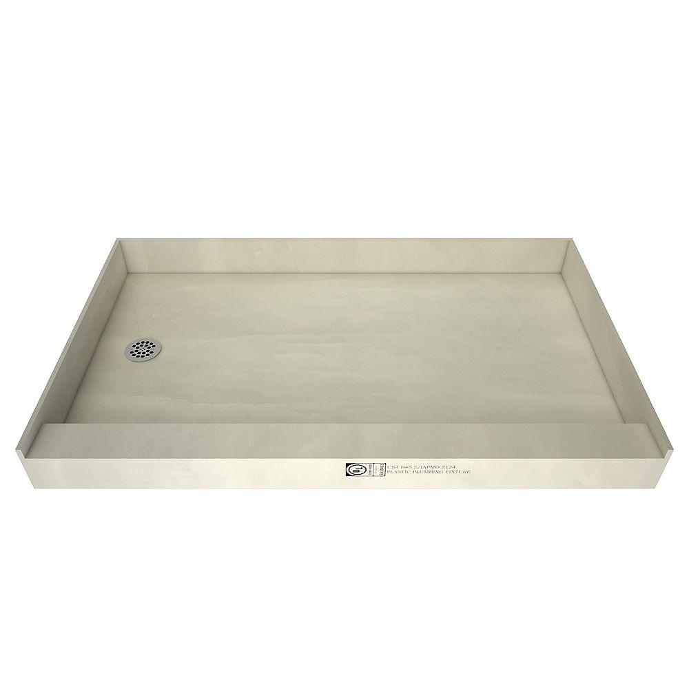 Tile Redi Base de douche à seuil simple avec drain à gauche, 32 po x 60 po, 3260LSPVC-13-2-4