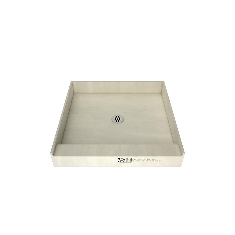 Tile Redi Base de douche à seuil simple avec drain central, 42 po x 42 po