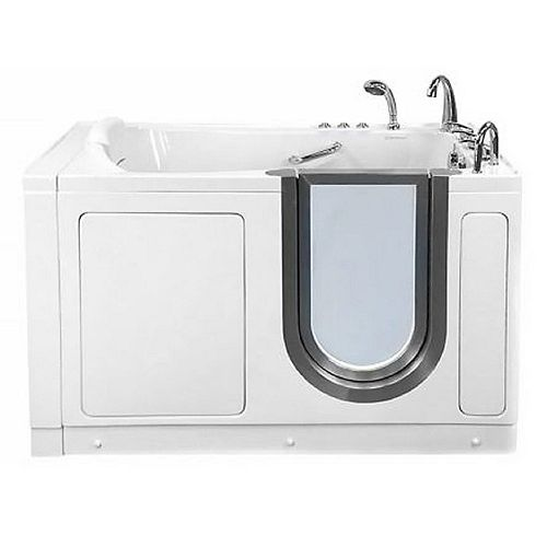 Ella Deluxe 4 ft. 7-inch Alcove Right Drain Whirlpool and Air Walk-in Bathtub in White, Fast Fill Faucet