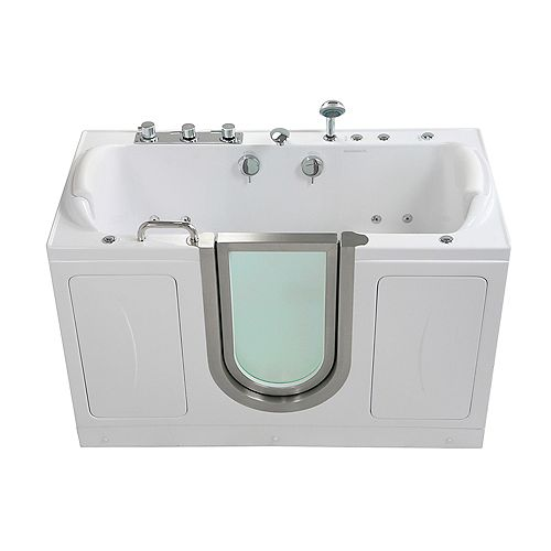 Companion 5 ft. Alcove Centre Drain Whirlpool and Air Walk-in Bathtub in White, Fast Fill Faucet