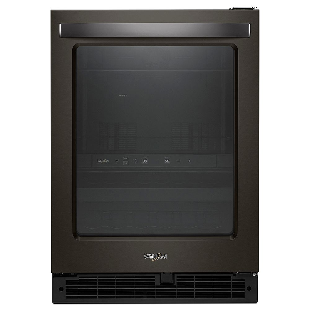 Whirlpool Réfrigérateur de 24 pouces W 5,2 pieds cubes pour boissons sous le comptoir en acier inoxydable noir - porte réversible