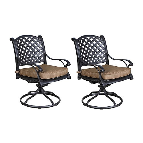 Outdoor Cast Aluminum Swivel Rockers with Cushions, Set of 2