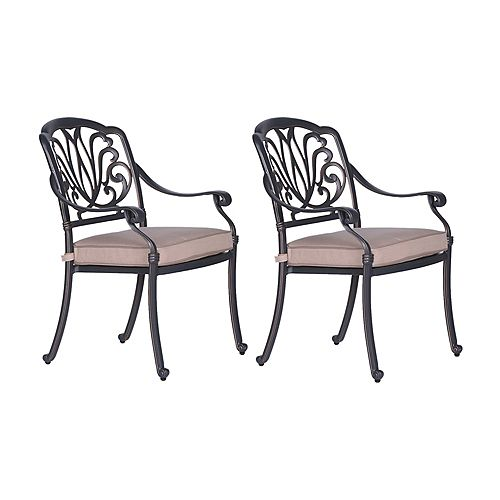 iPatio Outdoor Cast Aluminum Dining Arm Chairs with Cushions, Set of 2