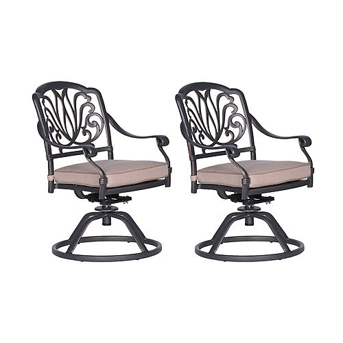 Outdoor Cast Aluminum Dining Swivel Rockers with Cushions, Set of 2