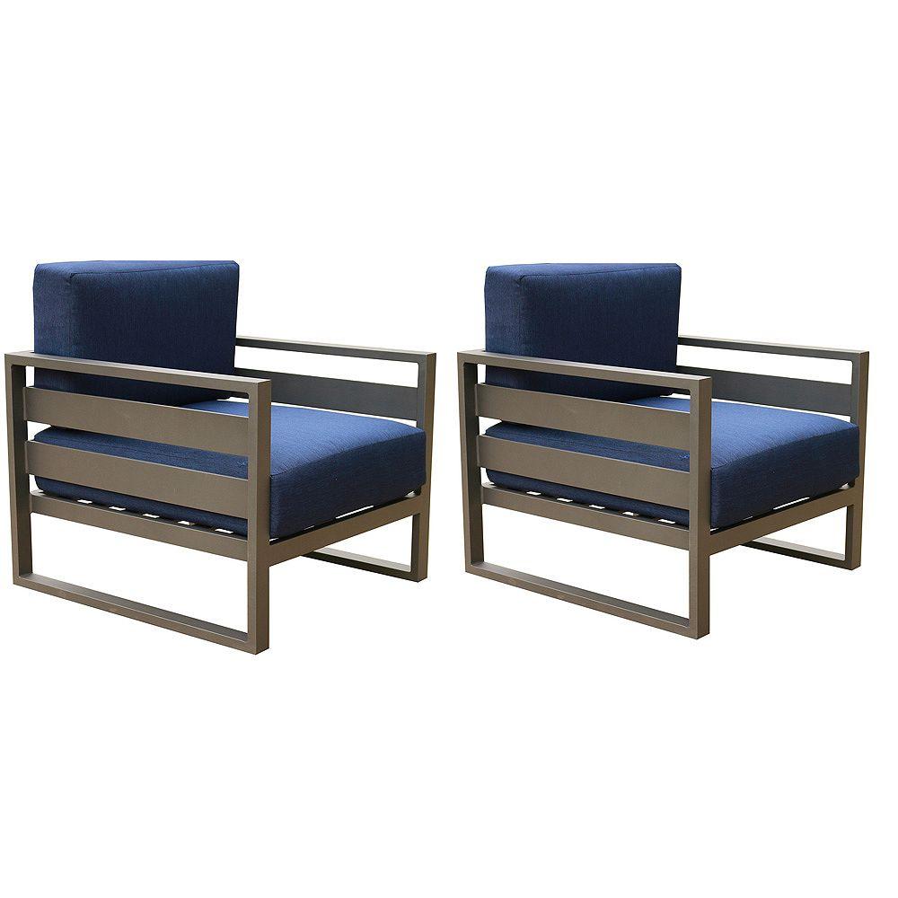 iPatio Fauteuils club long dextérieur avec coussins épais bleus Superior, aluminium