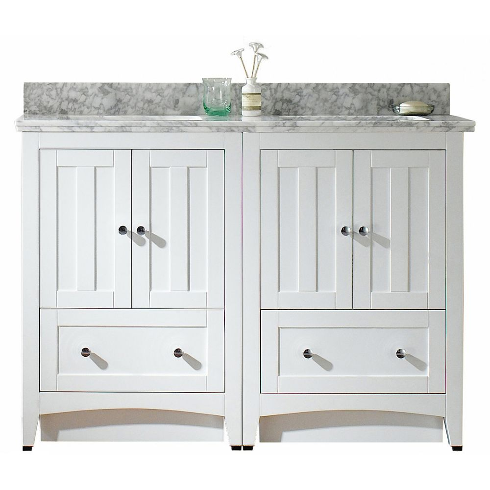 American Imaginations Modern 47.5 inch W Vanity in White with Vanity Top in Bianca Carara with Biscuit Sink
