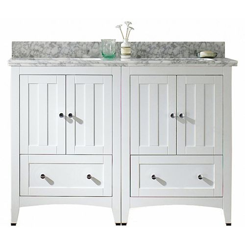 American Imaginations 47.5 inch W x 18.25 inch D Vanity in White with Vanity Top in Bianca Carara with Biscuit Sink