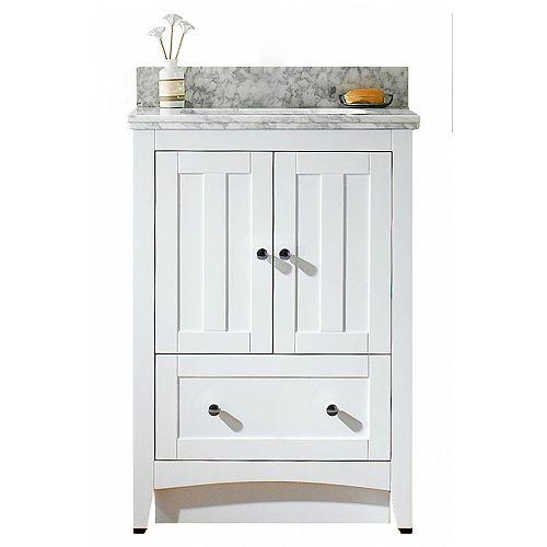 American Imaginations 18.25 inch D White Vanity Set